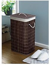 Dark Brown Bamboo Laundry Basket