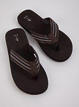 Dark Brown Toe Post Flip Flops - M