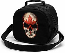 Dark Canadian Flag Skull Insulated Lunch Bag Mini