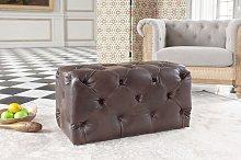Dark Chesterfield leather pouffe