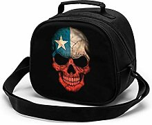 Dark Chilean Flag Skull Insulated Lunch Bag Mini