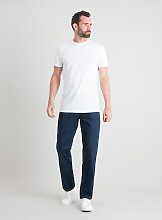 Dark Denim Straight Leg Jeans With Stretch - W36