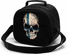 Dark Finnish Flag Skull Insulated Lunch Bag Mini