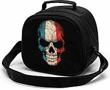 Dark French Flag Skull Insulated Lunch Bag Mini