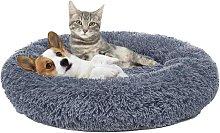 Dark Gray Plush Round Bed For Pets Basket Round
