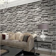 Dark Gray Stacked Brick Wallpaper Realistic 3D