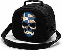Dark Greek Flag Skull Insulated Lunch Bag Mini