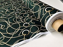 Dark Green Golden Chain Fabric for Curtains