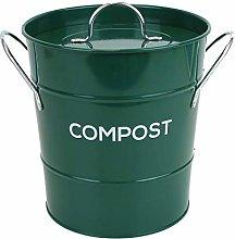 Dark Green Metal Kitchen Compost Caddy - Forest