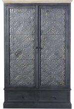 Dark Grey 2-Door 2-Drawer Wardrobe Wabi