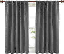 Dark Grey Blackout Curtains for Bedroom - (42x63