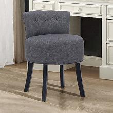 Dark Grey Fabric Vanity Stool Upholstered Chair