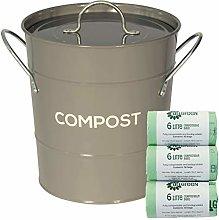 Dark Grey Metal Kitchen Compost Caddy & 150x