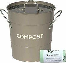 Dark Grey Metal Kitchen Compost Caddy & 50x