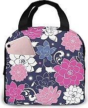 Dark Grey Pink Floral Portable Insulation Reusable
