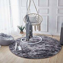 Dark Grey Round Circle Plain Modern Shaggy Rugs