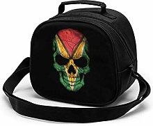 Dark Guyanese Flag Skull Insulated Lunch Bag Mini
