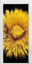 Dark Magnificent Yellow Flower Door Sticker East