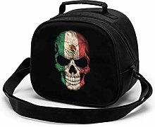 Dark Mexican Flag Skull Insulated Lunch Bag Mini