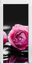 Dark Pink Rose Blossoms on Zen Stones Door Sticker