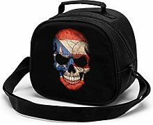 Dark Puerto Rican Flag Skull Insulated Lunch Bag