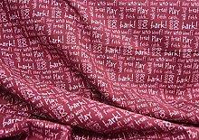Dark Red - 100% Cotton Poplin Dogs Words Printed