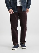 Dark Red Straight Fit Corduroy Trousers With