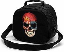 Dark Serbian Flag Skull Insulated Lunch Bag Mini