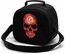 Dark Tunisian Flag Skull Insulated Lunch Bag Mini