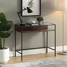Dark Walnut & Glass Industrial Office Desk - 35