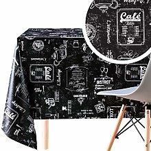 Dark Wipe Clean Pattern Tablecloth Coffee Shop