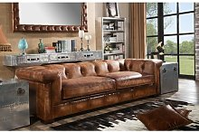 Darren Leather 4 Seater Chesterfield Sofa