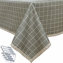 DARUITE Gingham Tablecloth with Lace, PVC Table