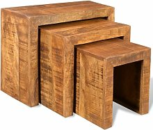 Dashiell Solid Mango Wood 3 Piece Nest of Tables