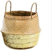 Dassie Artisan - Basket-Golden Sequins - seagrass
