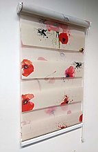 Day and Night Zebra Window Roller Blind With Poppy