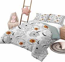 DayDayFun 3 Piece Bedding Sets Floral Bedspread