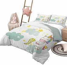 DayDayFun Kids' Quilt Set Unicorn Smooth Soft