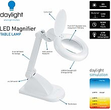 Daylight Company LED Magnifier Table Lamp, White