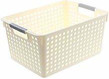 DAYNECETY Plastic Storage Baskets Box (White, S)
