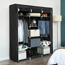 Dazhom - Black non-woven three-door wardrobe with