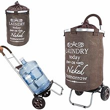 dbest products Laundry Trolley Dolly, Brown