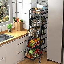 DBromanticArt Kitchen Shelf 5 Tier Storage Trolley
