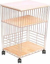 DBWIN Rubber wood kitchen storage trolley on