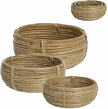 Dcasa Set of 3 Bols Rattan Containers Bento Lunch