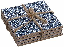 Dcasa Set of 4 Wooden Coasters Containers Bento