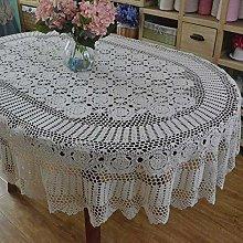 DDDCM Handmade crochet oval tablecloth crochet