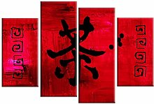 DDSDA 4 Panel Canvas Print Wall Art Picture Red &