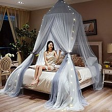 DDSGG White Bed Canopy for Girls with Lights