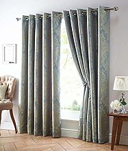 DE CAMA EYELET RING TOP LINED CURTAINS BLUE & GOLD